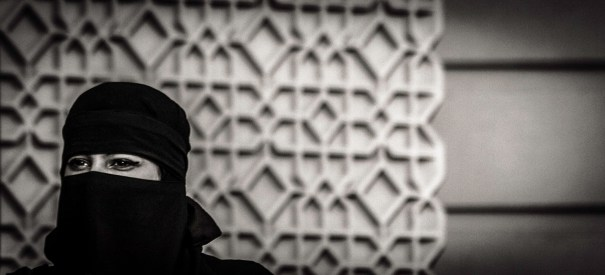 Monochrome Detail: Head of Woman Wearing a Headscarf