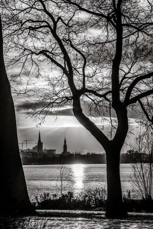 Monochrome Photograph of Winter Sunset - Hamburg