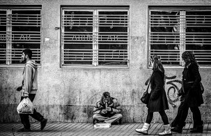 Street Shot of Street Musician in Prishtina