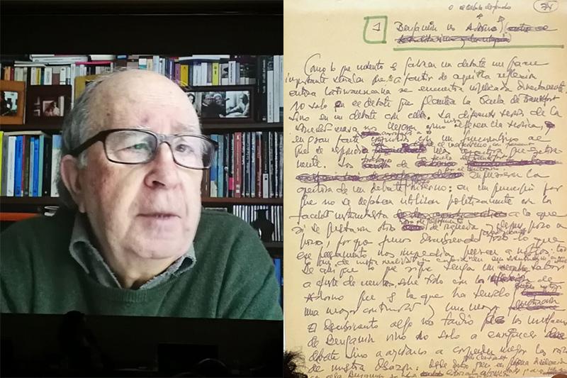 Intervención desde Colombia del Dr. Jesús Martín-Barbero y manuscrito de su libro De los medios a las mediaciones.