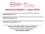 Seminario DigiDoc: Jueves 24 de enero, 2019 – UPF, Barcelona