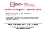 Seminario DigiDoc: Jueves 21 de febrero, 2019 – UPF, Barcelona