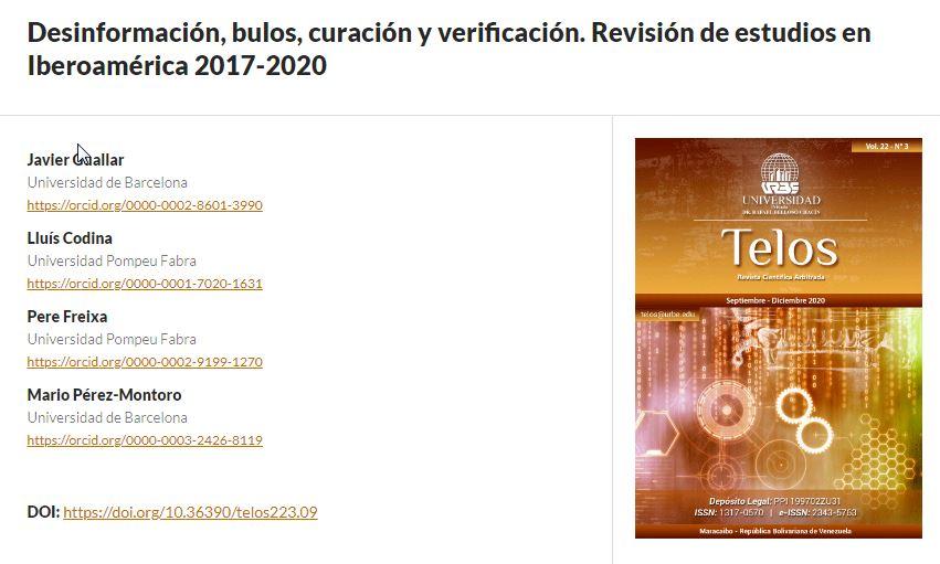 Desinformación, bulos, curación y verificación. Revisión de estudios en Iberoamérica 2017-2020