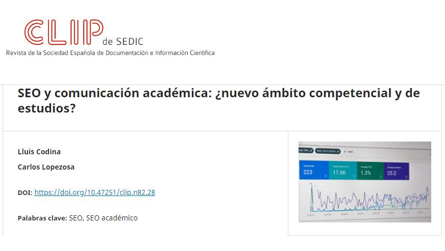 SEO y comunicación académica: ¿nuevo ámbito competencial y de estudios?