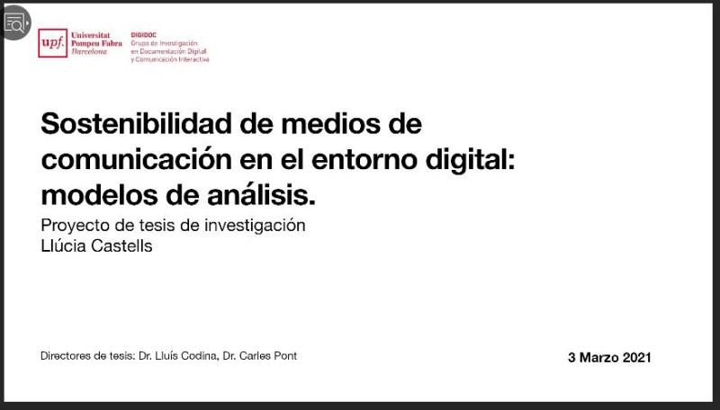 Presentación del proyecto de investigación de la doctoranda Llúcia Castells