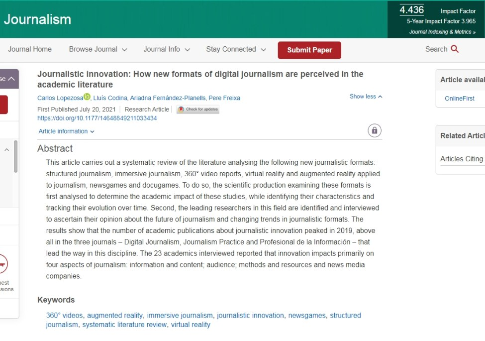 Journalistic innovation: How new formats of digital journalism are perceived in the academic literature [article]