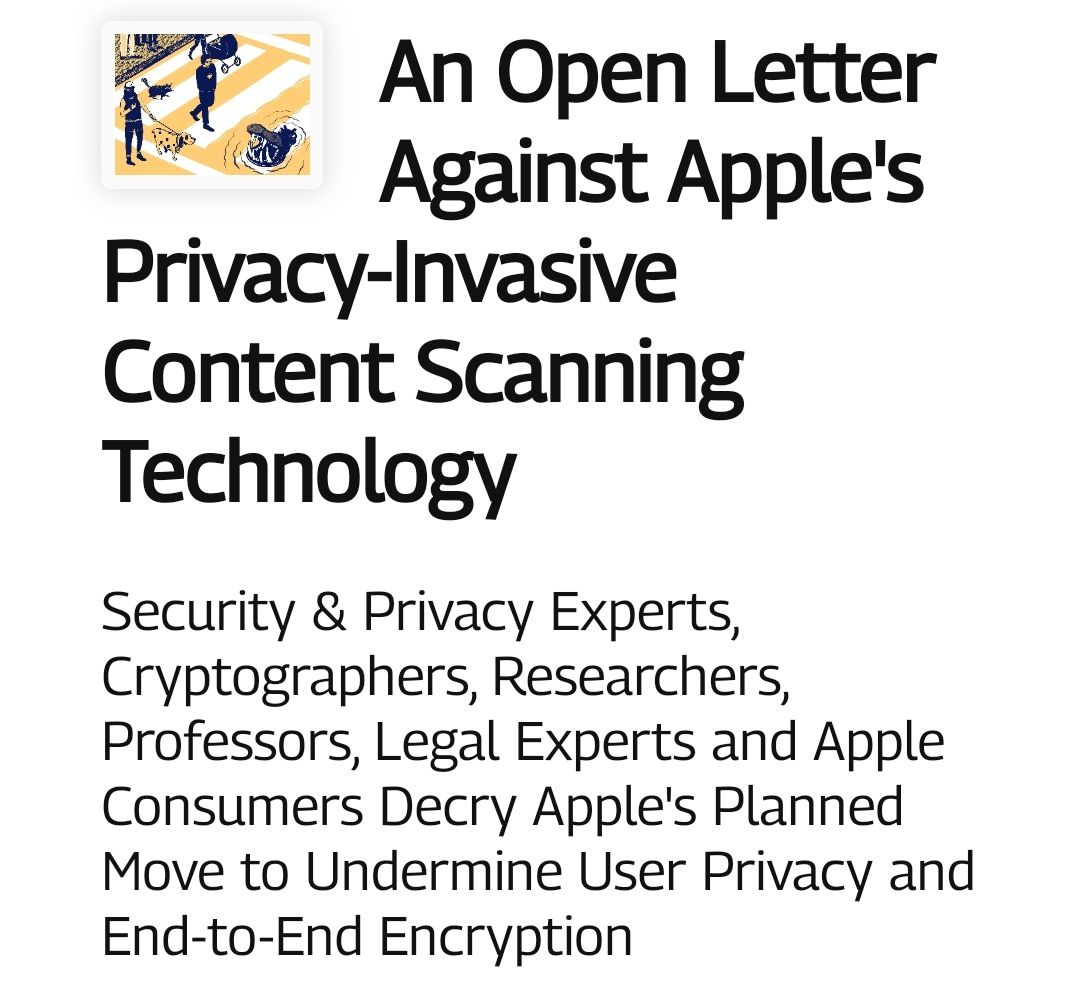 An Open Letter Against Apple's Privacy-Invasive Content Scanning Technology
