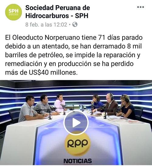 Publicación de entrevista radial a trabajadores petroleros que hacen llamado a la militarización en la Amazonía: https://www.facebook.com/sphidrocarburos/videos/378898372927950/