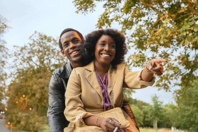 Micheal Ward as Franklyn (left) and Amarah-Jae St. Aubyn as Martha (right) in Lovers Rock