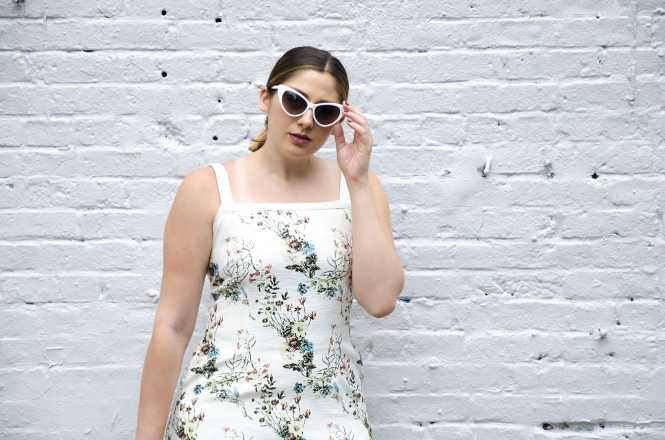 floral-shift-dress-white-cat-eye-sunglasses