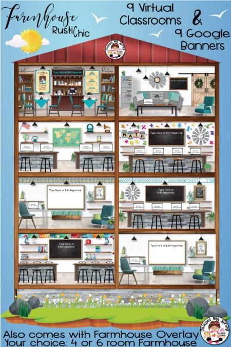 Virtual Classroom Distance Learning Farmhouse Classroom Decor