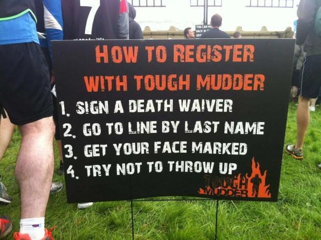 Tough Mudder Sign
