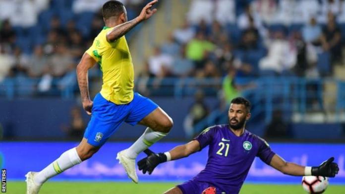 Jesus scores as Brazil beat Saudi Arabia