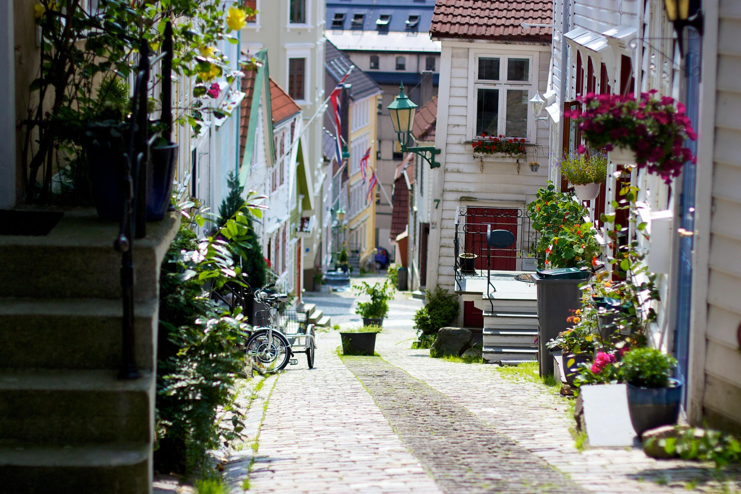 Cobblestone street in Bergen