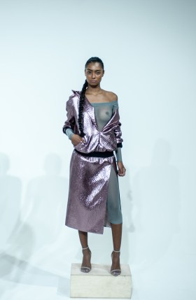 10. METALLIC HOODIE DRESS WITH OFF THE SHOULDER MESH CATSUIT