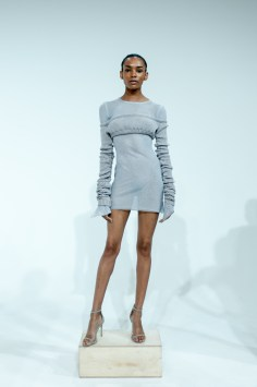 15. OFF THE SHOULDER KNIT CROP TOP WITH GREY GAUZE BODYCON LONG SLEEVE DRESS