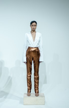 22. BACKLESS SHIRTING BLAZER WITH BRONZE CIGARETTE PANT