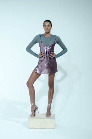 3. METALLIC PINK SLIP DRESS WITH LONG SLEEVE SHIRRED BODYSUIT
