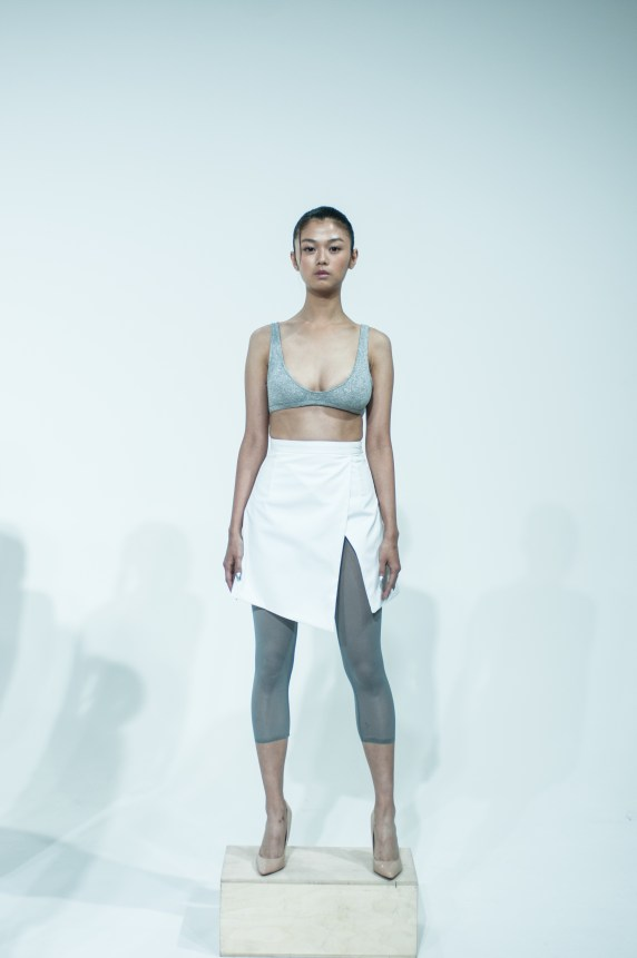 6. GREY BRALETTE WITH PENCIL SKIRT