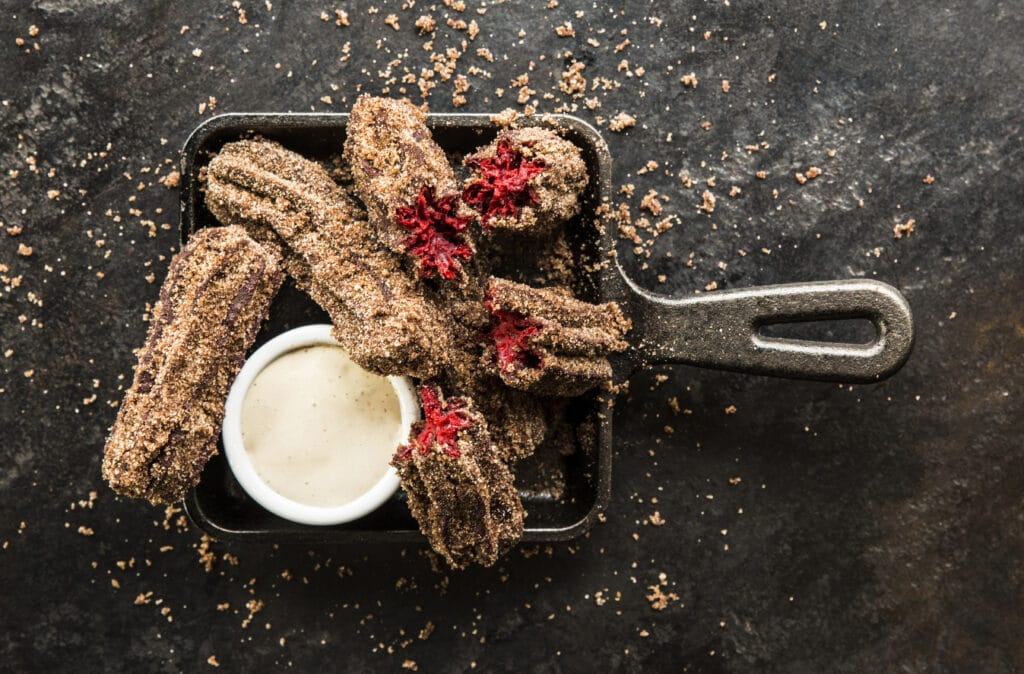 Bosscat Kitchen & Libations Houston | Red Velvet Churros with Cookie Butter Cream