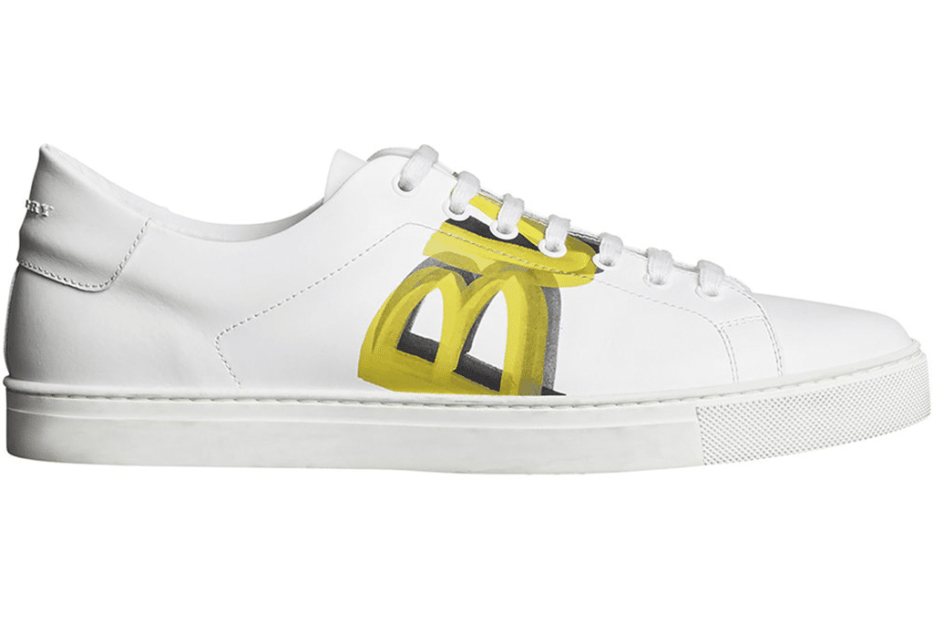 Burberry: Yellow Logo Print Leather Sneakers