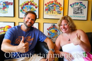 Brew Thru owner Philip Foreman and Sue Artz, on June 21, 2014. (photo by OBXentertainment.com)