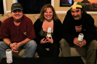 Sue Artz with Outer Banks Brewing Station owners Aubrey Davis and Eric Reece on the set of 'OBXE TV' on April 30, 2015 (photo by Matt Artz for OBXentertainment.com)