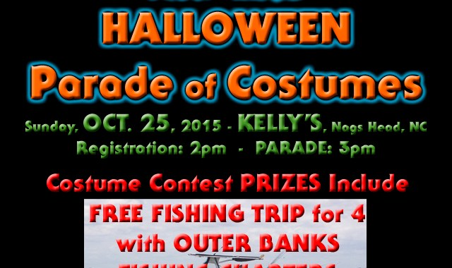 2015 Outer Banks Halloween Parade costume contest prizes include a free half-day fishing trip with Outer Banks Fishing Charters.