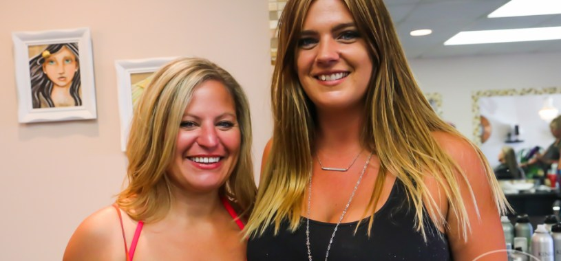 'OBXE TV' host Sue Artz with Ashley Dashiell at Deminsions Hair Salon in Kill Devil Hills on June 27, 2017 (photo by Matt Artz for OBX Entertainment)