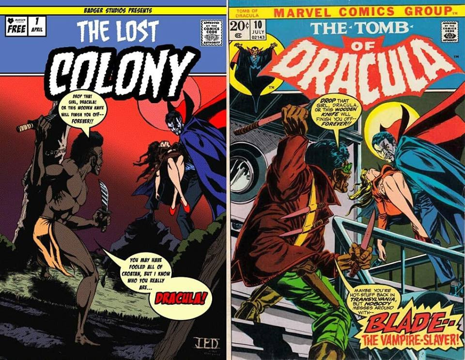Jeremiah Derby's Scare Fair 2019 exclusive 'Lost Colony' tribute to 'The Tomb of Dracula' #10 (image courtesy of Badger Studios)