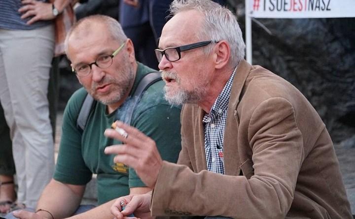 Wojciech Fusek i Paweł Kasprzak na manifestacji przed Sądem Najwyższym, Warszawa 29.06.2018