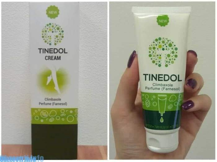 Cream Tinedol against fungus, smell and itch of the skin