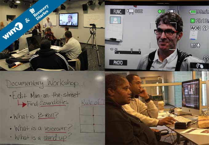 Scenes from the OC87 Recovery Diaries video workshop at WHYY's Dorrance H. Hamilton Media Commons.