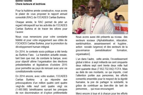 Raport Annuel Consolidé (RAC) 2014 de l'OCADES