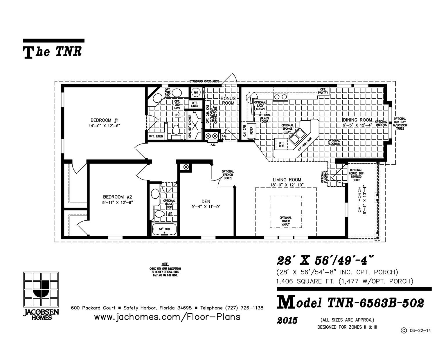 TNR-6563B Mobile Home Floor Plan