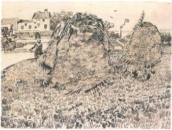 Vincent van Gogh 'Haystacks near a Farm', 1888