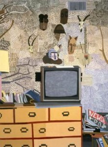 JONAS WOOD (B. 1977)  'ROSY's MASKS' 2008