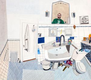 JONAS WOOD (B. 1977)  'Self Portrait In Downstairs Bathroom', 2011