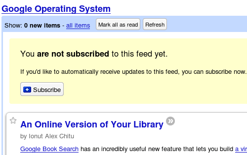 Google Reader Subscribe notice