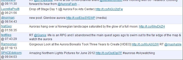 aurora search on twitter