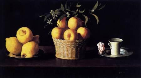 Francisco de Zubaran_Lemons oranges cup and rose_1633