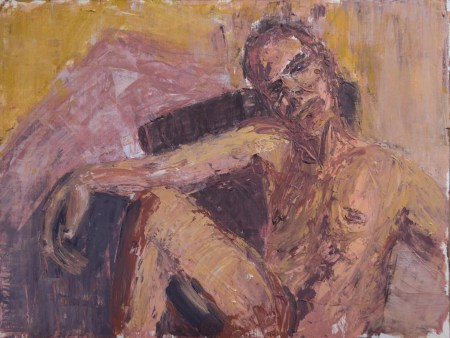 Stefan513593 - daily self-portrait #38: Oil on paper (48x36cm)