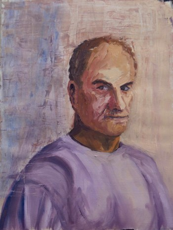 Stefan513593 - daily self-portrait #39: Oil on acrylic primed paper (48x36cm)