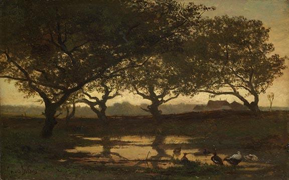 Gerard Bilders 'Bosvijver bij zonsondergang', 1862