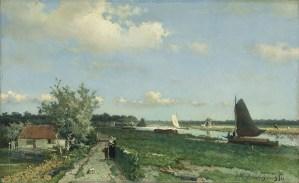 Johan Hendrik Weissenbruch 'De trekvliet bij Rijswijk, bekend als gezicht bij de geestbrug', 1868