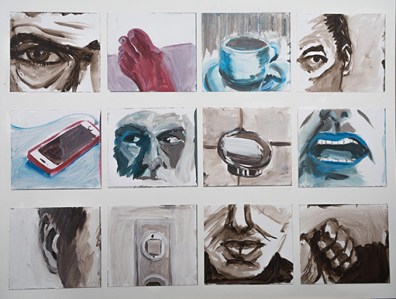 Stefan J Schaffeld 'Portrait Objects', 2016-17; 12 segments in acrylic (each 16 x 18 cm) on board (60 x 80 cm)