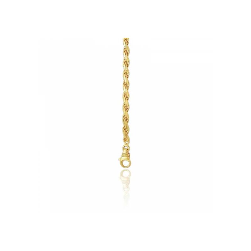 chaine corde torsadee creuse or jaune 18k longueur 60 cm