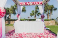 pink ceremony space by the beach