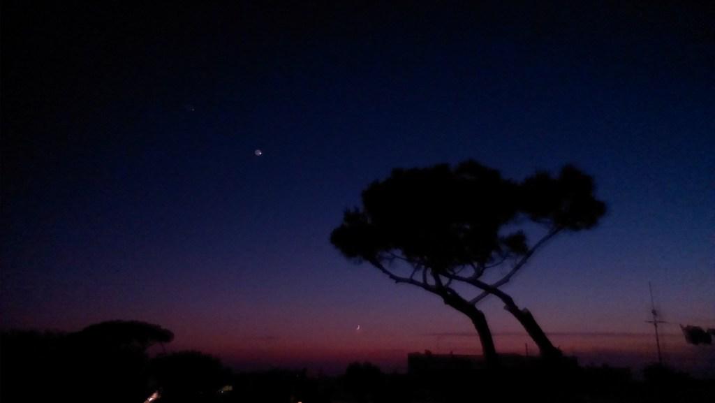 Le coucher de soleil depuis la terrasse