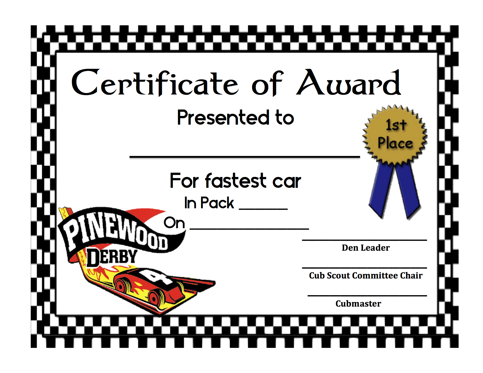 graphic about Free Printable Pinewood Derby Certificates named Pinewood Derby Certification Template. pinewood derby